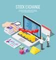 stock exchange isometric composition vector image