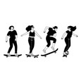 street longboards silhouettes vector image