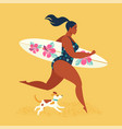 summer holiday girl surfer running with a dog vector image
