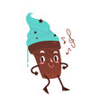 sweet humanized cake character isolated vector image vector image