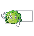 thumbs up with board lettuce character cartoon vector image vector image