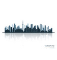 toronto blue skyline silhouette with reflection vector image vector image