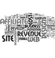 web design and affiliate revenue text word cloud vector image vector image