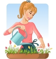 Woman watering her flowers with can vector image vector image