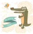 You make me happy concept card with cute alligator vector image vector image
