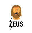 Zeus head logo with type vector image vector image