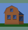 wooden house with attic vector image