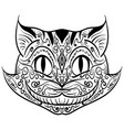 hand drawn outline doodle cat head zentangle vector image