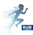running man silhouette grunge halftone vector image