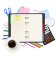 office notepad and office supples shut vector image
