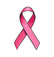 pink satin ribbon breast cancer awareness symbol vector image