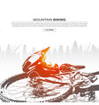 abstract silhouette mountain bike and helmet vector image vector image