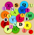 Alphabet on multicolor circles vector image vector image
