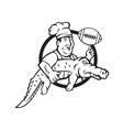 american football chef gator mascot circle vector image vector image