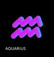 aquarius text horoscope zodiac sign 3d shape vector image