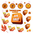 autumn sale labels vector image vector image