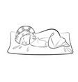baby sleeping ass up on a pillow line drawind vector image