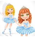 Beautiful little ballerina girl in tiara and blue vector image vector image