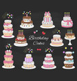 birthday cakes set hand drawn colorful vector image vector image