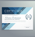 blue certificate design in professional style vector image