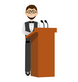 businessman in a lectern vector image