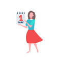 businesswoman holding calendar 1 may date happy vector image vector image