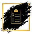checklist sign golden icon vector image vector image