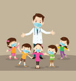 children boy and girl and doctor wearing vector image vector image