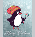christmas postcard penguin on skates vector image vector image