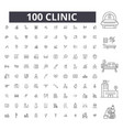 clinic editable line icons 100 set vector image vector image