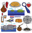 croatia tourism travel famous symbols and tourist vector image vector image
