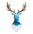 double exposure layered paper cut wild deer vector image vector image