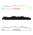 Edinburgh skyline linear style with rainbow vector image vector image
