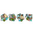 epidemic cartoon doodle designs set vector image vector image