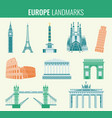 europe landmarks flat icon set travel and tourism vector image vector image