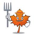 farmer red maple leaf character cartoon vector image