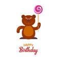 Flat bear and lollipop card vector image vector image