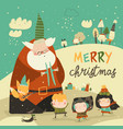 funny santa claus celebrating chistmas with cute vector image vector image