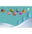 Greeting card of hanging christmast ball and pine vector image vector image