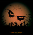 halloween background with cemetery and moon vector image