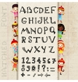 Hand drawing alphabet and numbers vector image vector image