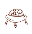 Hand Drawn Alien in Spaceship vector image vector image