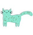 hand drawn cute cat with phrase lovely cute weow vector image