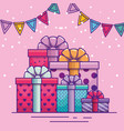 happy birthday with presents and party banner vector image vector image