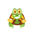 happy green turtle with big shiny eyes front view vector image vector image