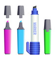 highlighters broad felt-tipped pens with covers vector image vector image