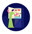 hungry man wearing pajamas stand at open vector image vector image