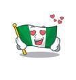 in love flag nigeria mascot shaped a cartoon vector image vector image