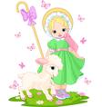 Little shepherdess vector image