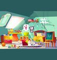 messy child attic bedroom interior cartoon vector image vector image